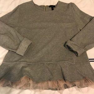 Grey Sweatshirt with Blush Tulle